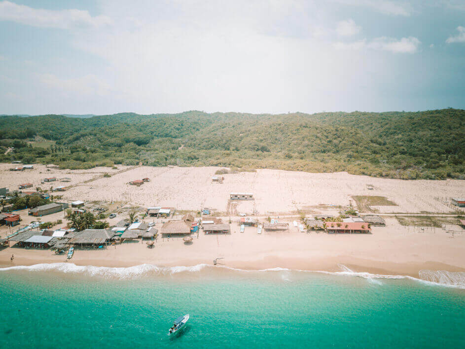 Picture of Tangolunda beach and shoreline taken with the best drone for travel - a DJI Mavic Pro. Pic for the post best beaches in Oaxaca, Mexico