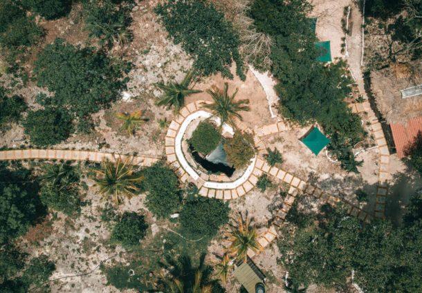 Cenote La Noria drone shot for Best Riviera Maya Cenotes