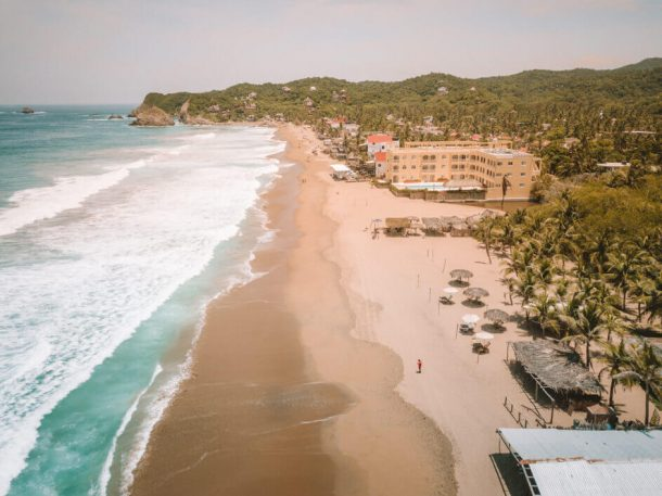 Zipolite Beach from a drone for Best Beaches in Oaxaca Mexico