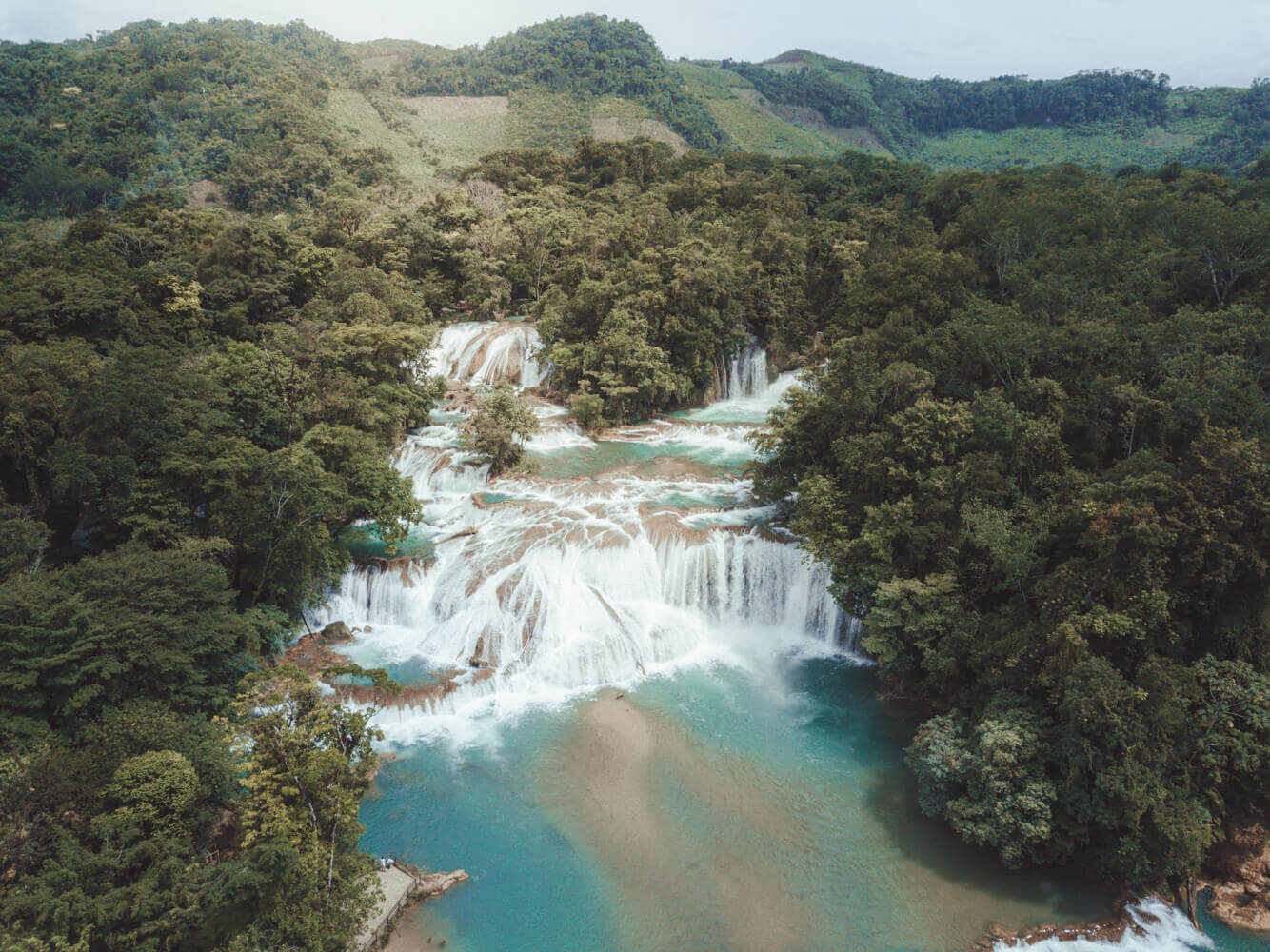 Agua Azul from a drone near Palenque for Planning a trip to Mexico on a budget