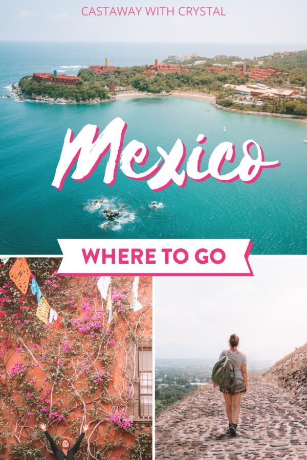 Spliced images of around Mexico including drone pic of Huatulco beach and ruins for post: Planning a trip to Mexico on a budget