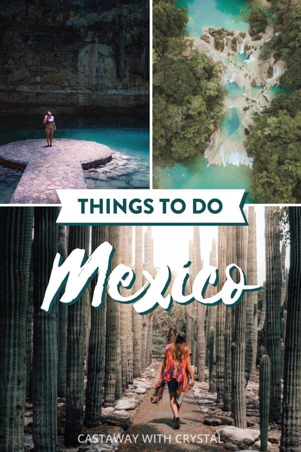 Spliced images of around Mexico including cactus in Oaxaca and cenotes in Mexico for post: Planning a trip to Mexico on a budget