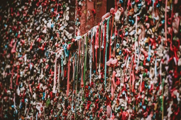 Gum wall at Pike place market for 3 days in Seattle itinerary