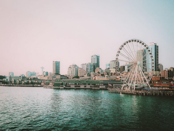 Waters around Seattle ferris wheel for 3 days in Seattle itinerary