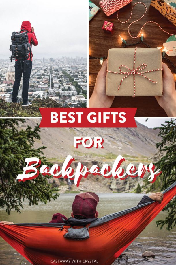 Images of backpackers sightseeing for Best Backpacking Gifts post with text: Best Gifts for Backpackers