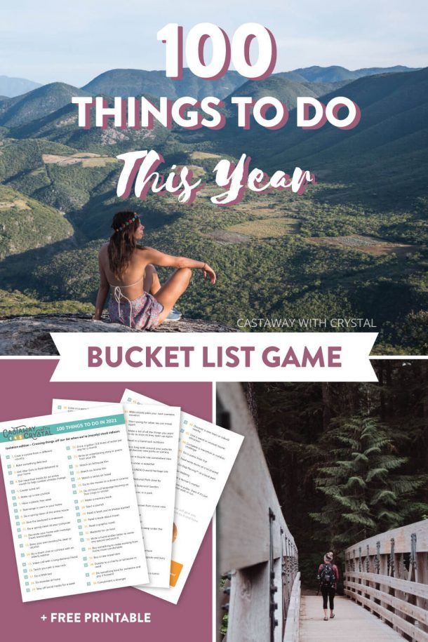 3 images of travel bucket list items with text olay: 100 things to do this year bucket list game with free printable