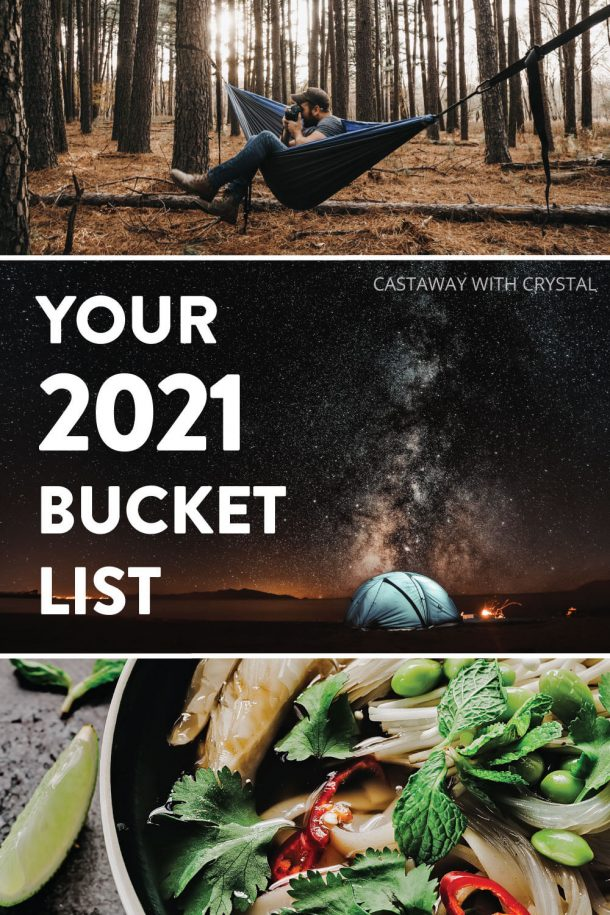 3 images of camping and food spliced with text olay your 2021 bucket list