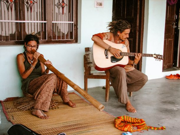Travellers playing different instruments for Best places to visit in Dharamshala and McLeodganj