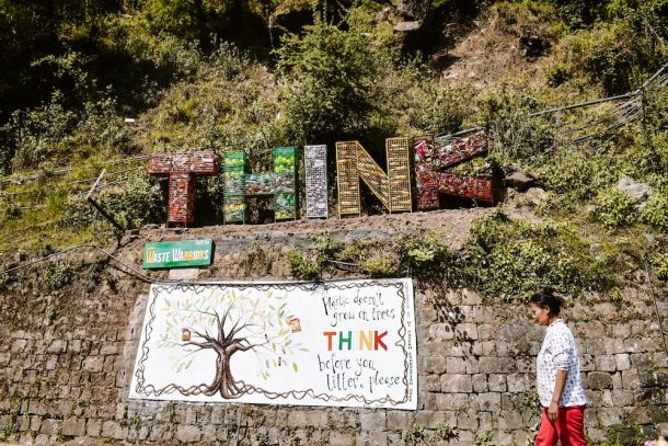 Waste Warriors sign that says: Think before you litter for Best places to visit in Dharamshala and McLeodganj
